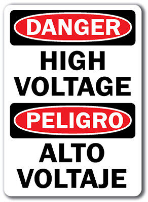 "Danger Sign - High Voltage (Bilingual) - 14"" x 10"" OSHA Safety Sign"