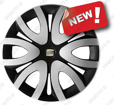 """4x15"""" Wheel trims Wheel covers fit Seat  full set of 4 x15"""" silver/black"""
