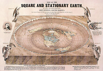 """Flat Earth """"Orlando-Ferguson""""Square and Stationary POSTER FREE NEXT DAY DELIVERY"""