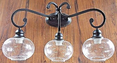 New 3 light clear seeded glass Oil Rubbed Bronze vanity bathroom wall light ORB