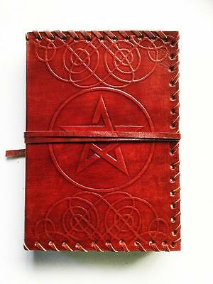 Leather Bound Journal Book Of Shadows Pentagram / Pentacle Blank Pages