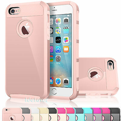 For iPhone 5 SE 5S Dual Layer Hybrid Rugged Rubber Armor Shockproof Case Cover