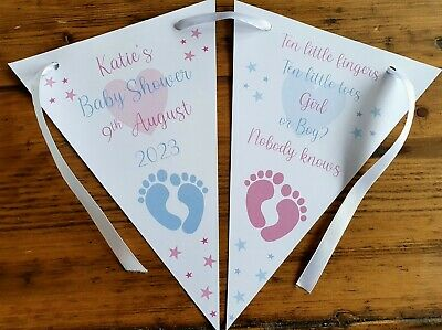 Personalised Baby Shower Party Banner Bunting UNISEX PINK & BLUE Boy / Girl