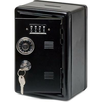 Kids Children Money Box Metal Locker Combination Storage Safe Piggy Bank Black