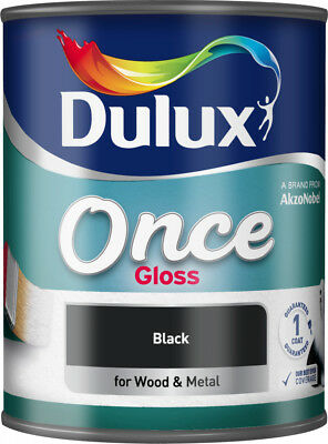Dulux Once Gloss Black Paint 750ml For Wood & Metal Interior/Exterior