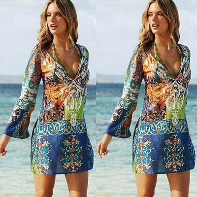 Fashion Women Summer Floral Long Sleeve Party Evening Cocktail Short Mini Dress