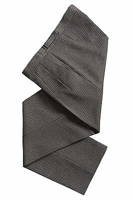 Black & Grey Polyester Striped Trousers