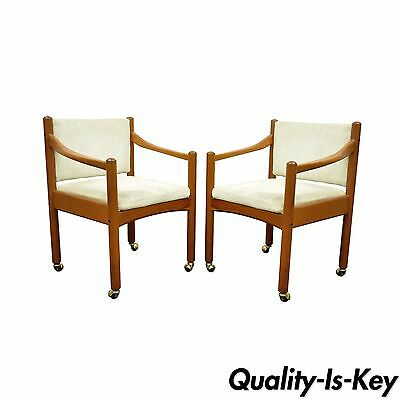 Pair of Vintage Mid Century Modern Dixie Teak Danish Style Dining Arm Chairs
