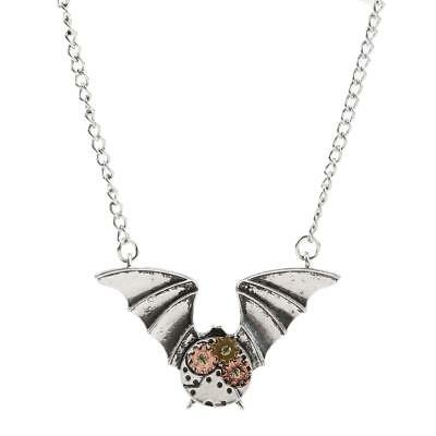 Vintage Antique Silver Steampunk Gear Bat Pendant Necklace Women Men Jewelry