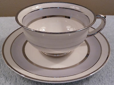 Vintage Pope Gosser SILVER DAWN cup and saucer, silver gray and platinum bands