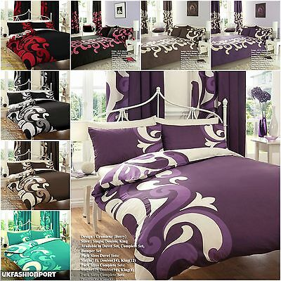 Grandeur Duvet Quilt Cover With PillowCases Bedding Set Double And King Size