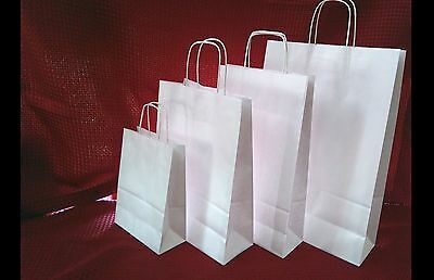 White Paper Bags, Kraft 4 sizes , Carrier Present  Bags ,Twisted Handles