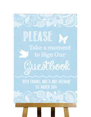 Blue Burlap & Lace Effect Sign Our Guestbook Personalised Wedding Sign