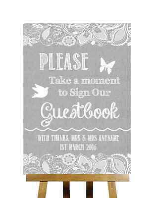 Grey Burlap & Lace Effect Sign Our Guestbook Personalised Wedding Sign