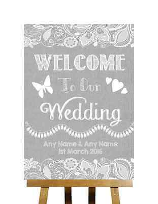 Grey Burlap & Lace Effect Welcome To Our Wedding Personalised Wedding Sign