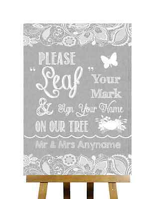 Grey Burlap & Lace Effect Guestbook Tree Message Personalised Wedding Sign