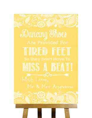 Yellow Burlap & Lace Effect Flip Flops Sandals For Tired Feet Wedding Sign