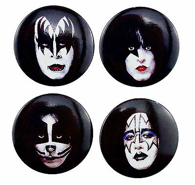 4 x 38mm KISS Masked Faces Button Badges New Official Band Merch