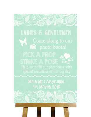 Green Burlap & Lace Effect Pick A Prop Photobooth Personalised Wedding Sign