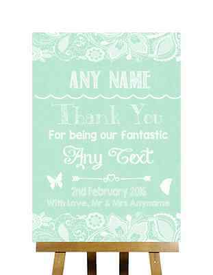 Green Burlap & Lace Effect Thank You Bridesmaid Usher Best Man Wedding Sign