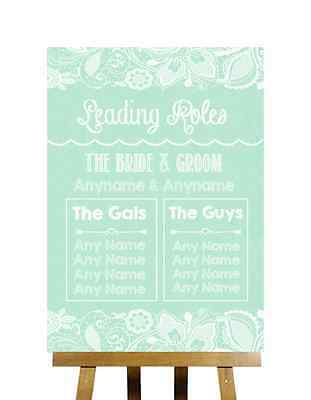 Green Burlap & Lace Effect Who's Who Leading Roles Personalised Wedding Sign