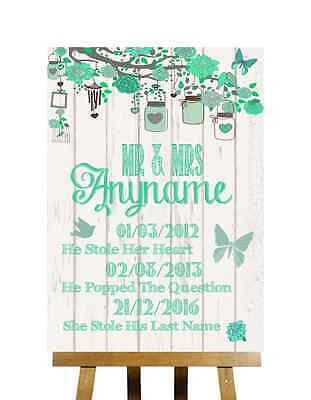 Green Rustic Wood Effect Special Important Dates Personalised Wedding Sign