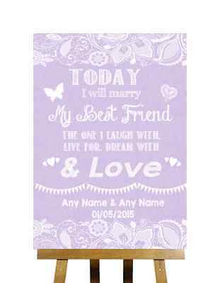 Lilac Burlap & Lace Effect Today Marry Best Friend Personalised Wedding Sign