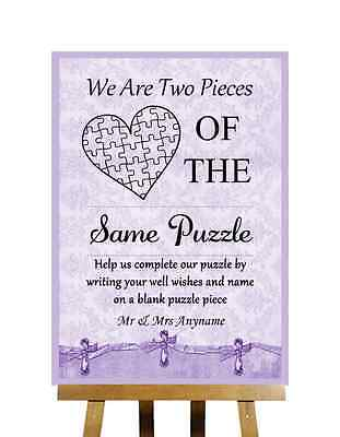 Lilac Shabby Chic Vintage Puzzle Guest Book Personalised Wedding Sign Poster