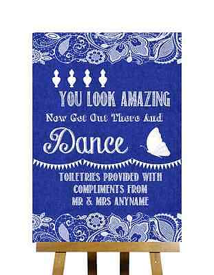 Navy Blue Burlap Lace Toiletries You Look Amazing Personalised Wedding Sign