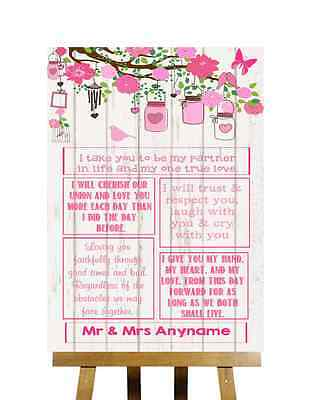 Pink Shabby Chic Rustic Wood Effect Romantic Vows Personalised Wedding Sign