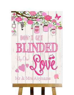 Vintage Wood Effect Don/'t Be Blinded Sunglasses Personalised Wedding Sign