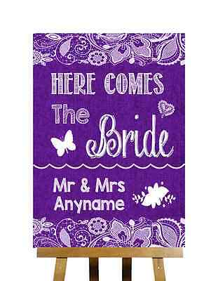 Purple Burlap Lace Effect Here Comes Bride Aisle Sign Personalised Wedding Sign