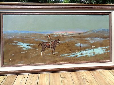 LARGE Original Ace Powell Oil Painting on Panel - Man on Horse 'No Hunting'