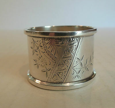 Nice Antique American Sterling Silver Napkin Ring, Engraved Floral Design