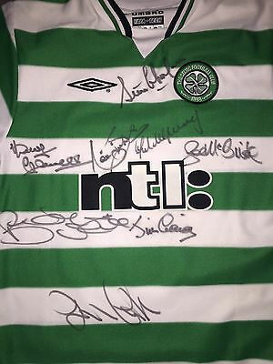 Signed Celtic Retro Umbro Home Shirt By 8 Lisbon Lions Mcneill Simpson Gemmell