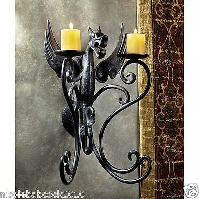 Retro Gothic Cast Iron Antique Replica Dragon Candle Holder Wall Sconce fixture