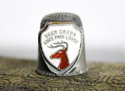 Vintage Pewter Sewing Thimble from Deer Creek State Lodge (Ohio) Souvenir