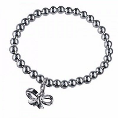 NEW Genuine Solid 925 Italian Sterling Silver Child's Bead Bracelet With 925 Bow