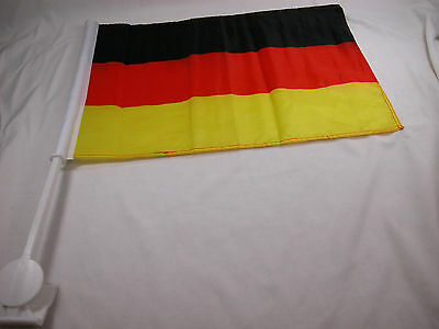 "German Deutsche Car Window Flags 12""x18"" with stand Germany"