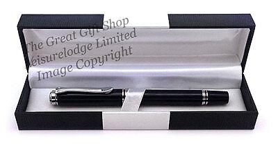 FINE NEW SILVER BLACK PEN LUXURY BOXED Quality Mens Ladies Writing Gift ENGRAVED