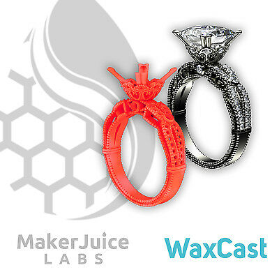 Resina per DLP makerjuice WAXCAST fondibile | ROSSO RED | make-x,formlabs, asiga