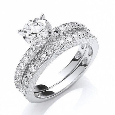 Rhodium Plated Solid 925 Hallmarked Silver 1.25Ct Brilliant Cut Bridal Ring Set