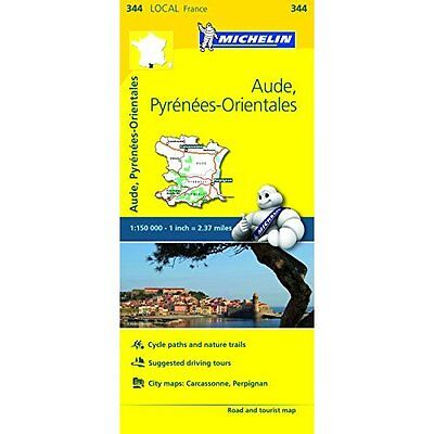 Aude Pyrenees-Orientales France Local Map 344 Michelin Maps Sheet. 9782067210783