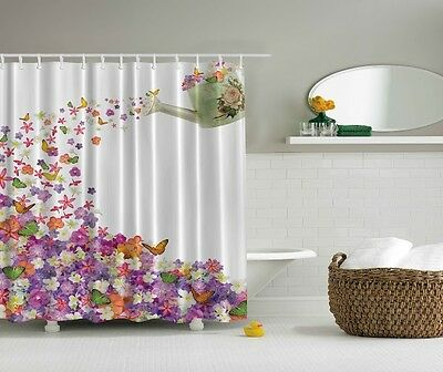 1 Of 4FREE Shipping White Purple Floral Butterfly Fabric Shower Curtain Design 70 Bathroom W Hooks