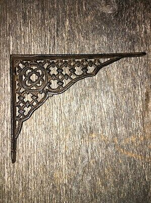 2 Heavy Cast Iron Antique Style Gothic Victorian Lattice  Shelf Brackets Braces