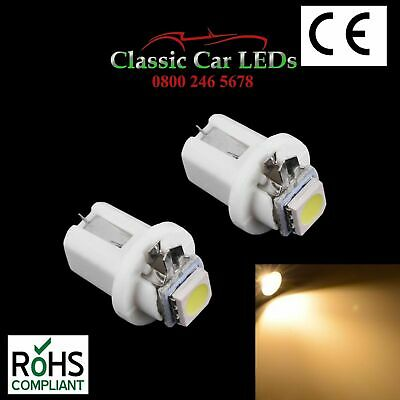 2x B8.5D TWIST LED BULBS WARM WHITE 286 T5 GAUGE DASHBOARD XJS MINI LOTUS