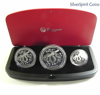 2013 YEAR OF THE SNAKE THREE COIN PROOF SILVER LUNAR Set