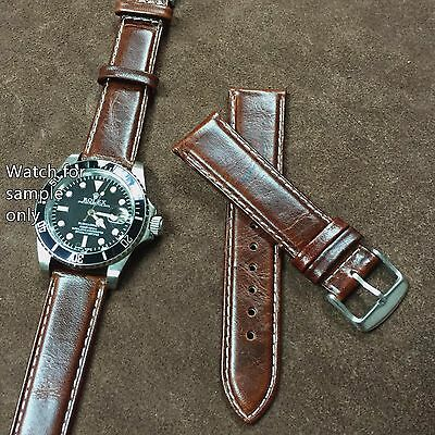Size 18/20/22mm Oily Brown Leather Vintage Style Padded Watch Strap/Band s13