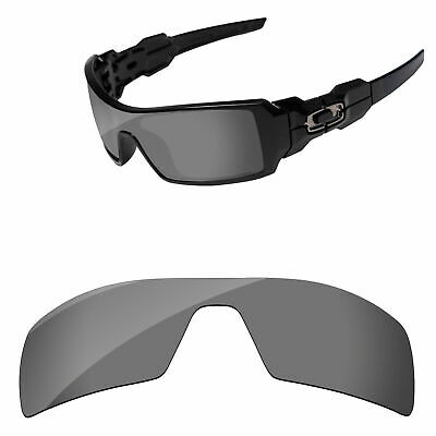 Black Iridium Mirror Polarized Replacement Lenses For-Oakley Oil Rig Sunglasses
