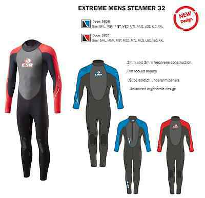 CSR by Crewsaver Extreme Mens 32 Steamer Full Length Wetsuit ( Black/Red )